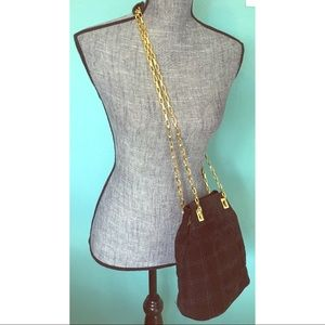 Vintage Quilted Suede CrossBody Purse Handbag
